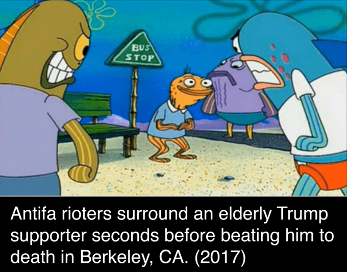 Cartoon - BUS STOP Antifa rioters surround an elderly Trump supporter seconds before beating him to death in Berkeley, CA. (2017)