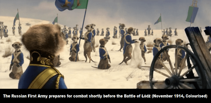 People - The Russian First Army prepares for combat shortly before the Battle of Lódź (November 1914, Colourised)