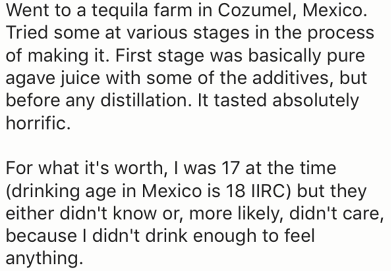 Text - Went to a tequila farm in Cozumel, Mexico Tried some at various stages in the process of making it. First stage was basically pure agave juice with some of the additives, but before any distillation. It tasted absolutely horrific For what it's worth, I was 17 at the time (drinking age in Mexico is 18 IIRC) but they either didn't know or, more likely, didn't care, because I didn't drink enough to feel anything.