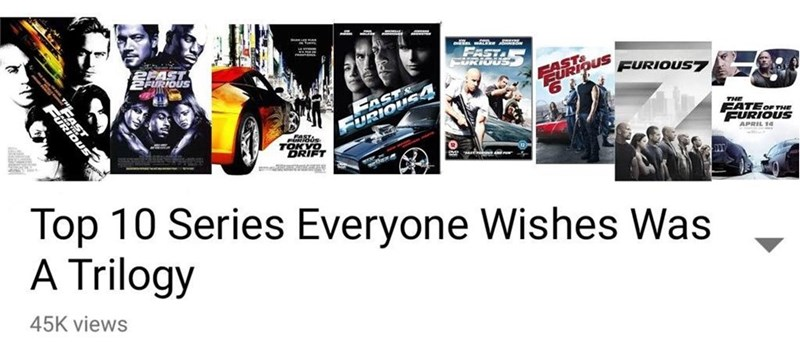 Funny meme suggesting that Fast and Furious should have been a trilogy because they are bad movies.