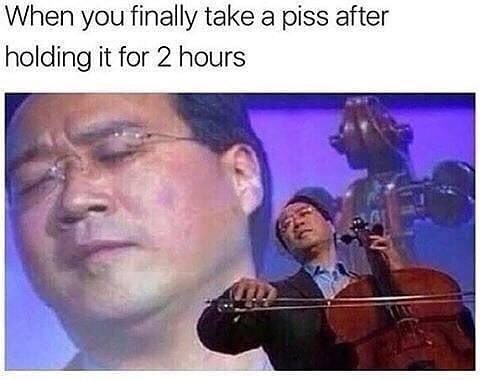 Funny meme about when you pee after waiting for two hours, man playing a cello, very dramatic - relief.