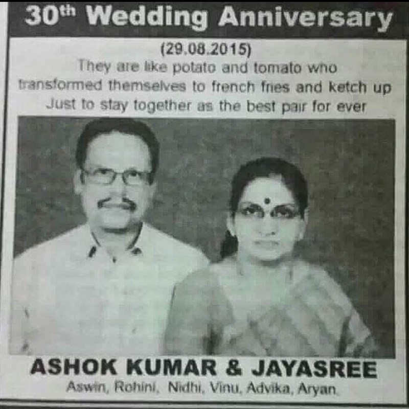 Funny photo of an advertisement celebrating a couple's 30th wedding anniversary, comparing themselves to french fries and ketchup.