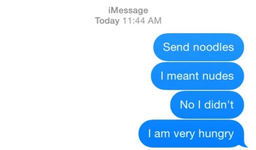 Text - iMessage Today 11:44 AM Send noodles I meant nudes No I didn't I am very hungry