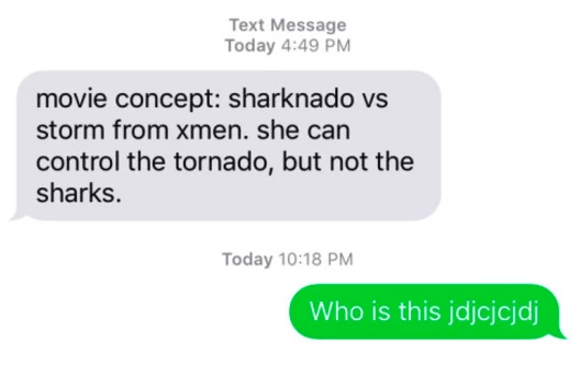 Text - Text Message Today 4:49 PM movie concept: sharknado vs storm from xmen. she can control the tornado, but not the sharks. Today 10:18 PM Who is this jdjcjcjdj