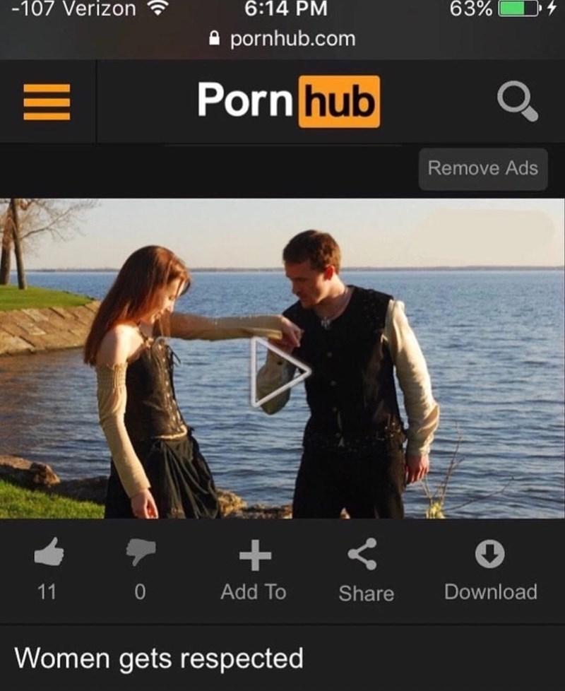 Sky - -107 Verizon 63% 6:14 PM pornhub.com Pornhub Q2 Remove Ads + 11 Add To Download Share Women gets respected
