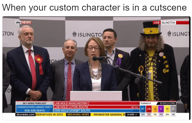 Funny meme about video games when your custom character is in a cutscene, one man in a crazy outfit with a bunch of people in suits at a press conference.