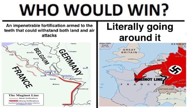 Text - WHO WOULD WIN? Literally going around it An impenetrable fortification armed to the teeth that could withstand both land and air attacks SH FREE STATE DENMAR Een Antwer GREAT BRITAIN L NEΤΗ LISH CANNEL LUN eae nertc MAGINOT LINE Metr N cE RA bar Sb SWITZERLAND The Maginot Line Weak Anficatons Strong fortifiatons GERMANY BELGIUM FRANCE