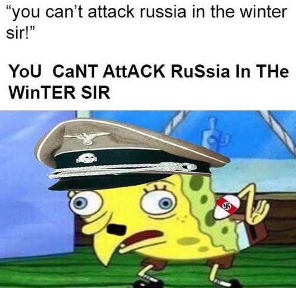 """Cartoon - """"you can't attack russia in the winter sir!"""" YoU CaNT AttACK RuSsia In THe WinTER SIR"""