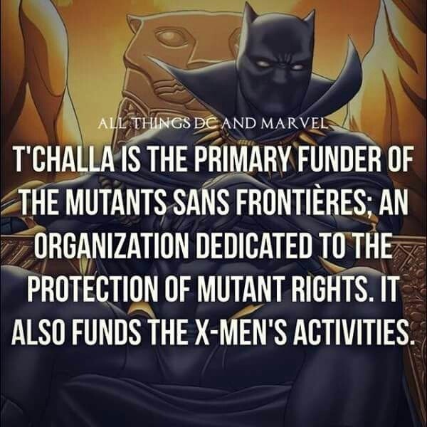 Batman - ALL THINGS DE AND MARVEL T'CHALLA IS THE PRIMARY FUNDER OF THE MUTANTS SANS FRONTIERES; AN ORGANIZATION DEDICATED TO THE PROTECTION OF MUTANT RIGHTS. IT ALSO FUNDS THE X-MEN'S ACTIVITIES.