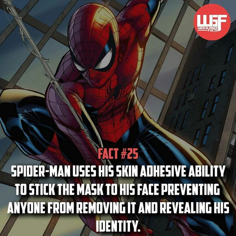 Spider-man - WEB SLINEER FACT FACT #25 SPIDER-MAN USES HIS SKIN ADHESIVE ABILITY TO STICK THE MASK TO HIS FACE PREVENTING ANYONE FROM REMOVING IT AND REVEALING HIS IDENTITY