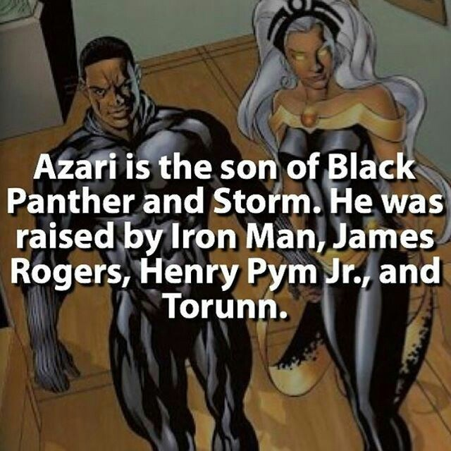 Cartoon - Azari is the son of Black Panther and Storm. He was raised by Iron Man, James Rogers, Henry Pym Jr., and Torunn.
