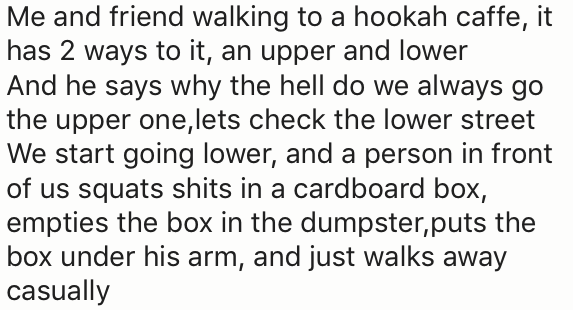 Text - Me and friend walking to a hookah caffe, it has 2 ways to it, an upper and lower And he says why the hell do we always go the upper one,lets check the lower street We start going lower, and a person in front of us squats shits in a cardboard box, empties the box in the dumpster,puts the box under his arm, and just walks away casually