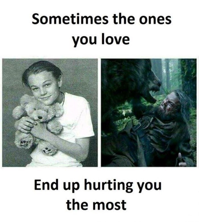 "Funny meme that says ""sometimes the ones you love are the ones that end up hurting you the most"" photo of Leondardo DiCaprio holding a teddy bear as a child, then a photo of him from the Revenant being attacked by a bear."