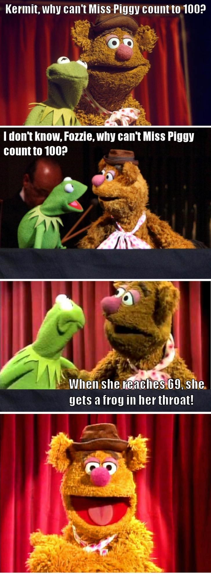 bert and ernie - Internet meme - Kermit, why can't Miss Piggy count to 100? I don't know, Fozzie, why can't Miss Piggy count to 100? When she reaches 69, she. gets a frog in her throat!