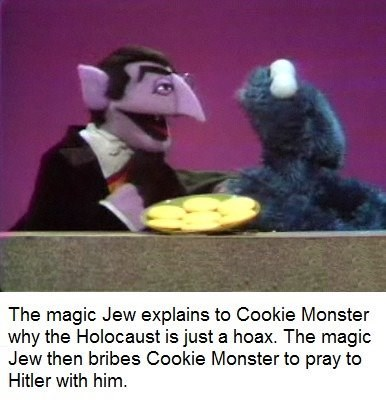 bert and ernie - Photo caption - The magic Jew explains to Cookie Monster why the Holocaust is just a hoax. The magic Jew then bribes Cookie Monster to pray to Hitler with him.