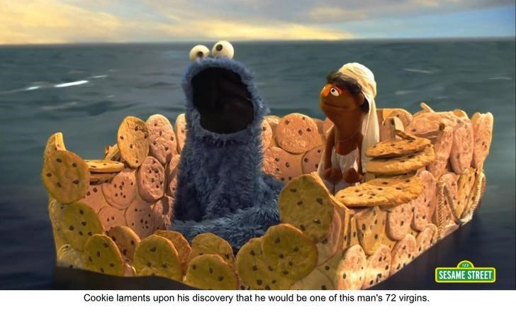 bert and ernie - Animation - SESAME STREET Cookie laments upon his discovery that he would be one of this man's 72 virgins.