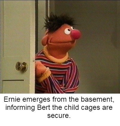 bert and ernie - Cartoon - Ernie emerges from the basement, informing Bert the child cages are secure