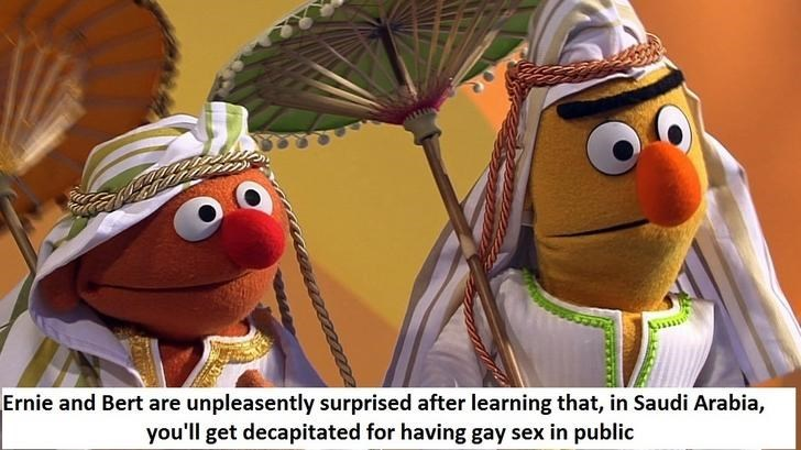 bert and ernie - Cartoon - Ernie and Bert are unpleasently surprised after learning that, in Saudi Arabia, you'll get decapitated for having gay sex in public