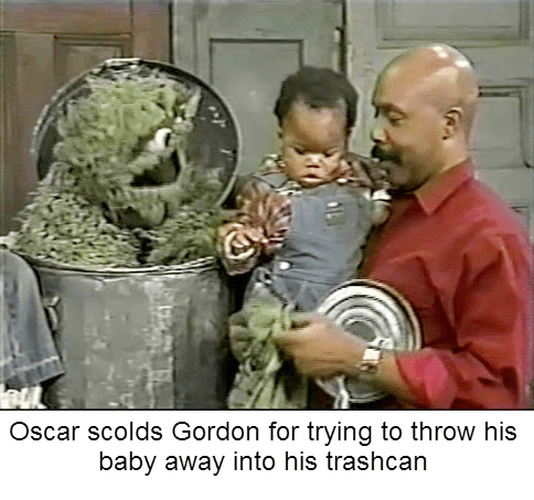 bert and ernie - Photo caption - Oscar scolds Gordon for trying to throw his baby away into his trashcan G
