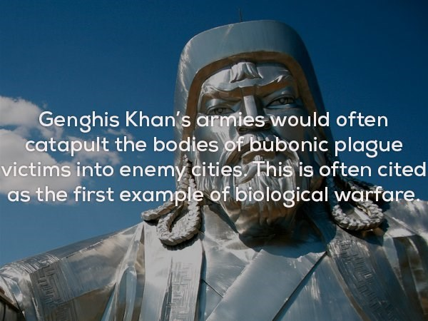 Organism - Genghis Khan's armies would often catapult the bodies of bubonic plague victims into enemy cities This is often cited as the first example of biological warfare