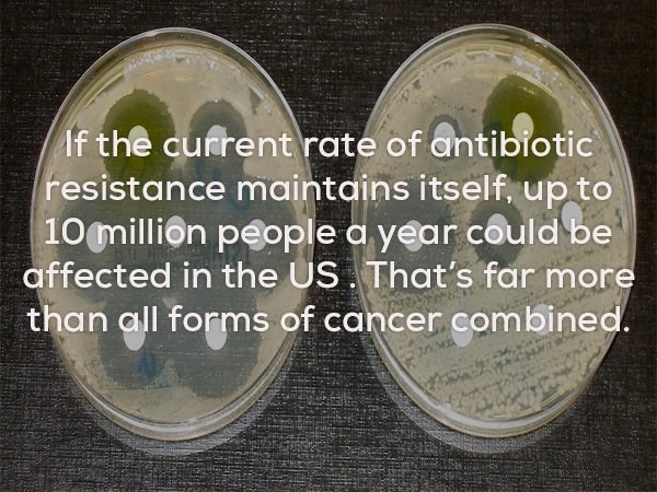 Product - If the current rate of antibiotic resistance maintains itself, up to 10 million people a year could be affected in the US That's far more than all forms of cancer combined.