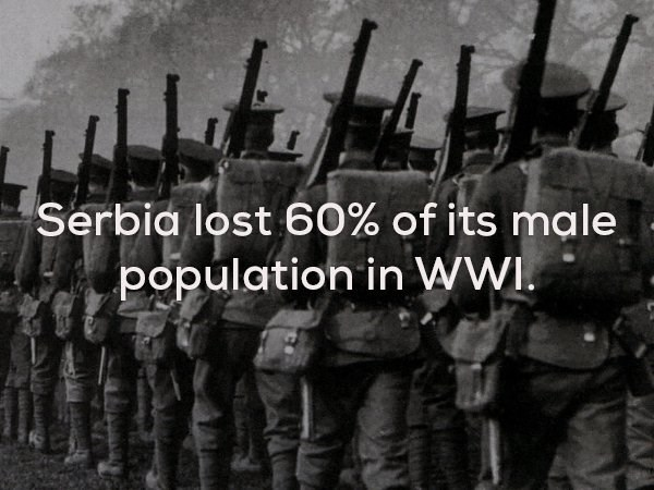Soldier - Serbia lost 60% of its ma le population in WWI.