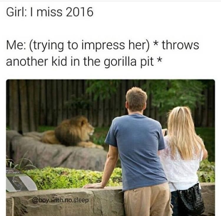 Funny meme wher ea girl say she misses 2016 so a guy throws a kid in a gorilla cage to bring her back to the year Harambe died.