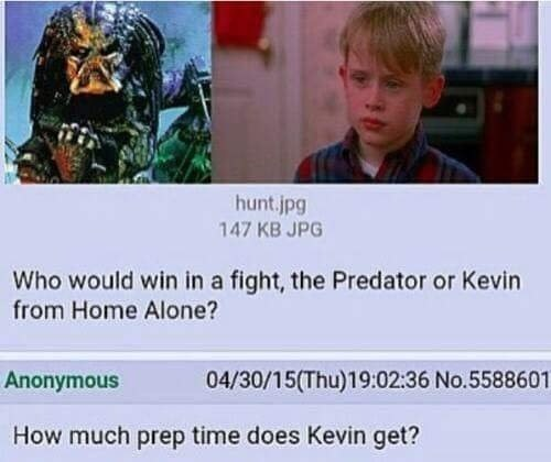 Funny meme pitting Predator against Kevin from Home Alone.