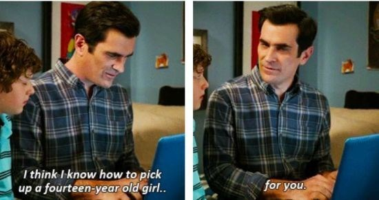 Modern Family moment when Phil helps Luke pick up a 14 year old girl.