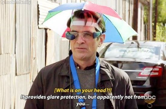 Phil Dunphy meme of augmented reality and a sunbrella hat.