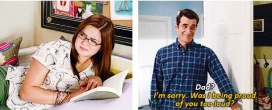 Phil Dunphy being overly proud of Alex.