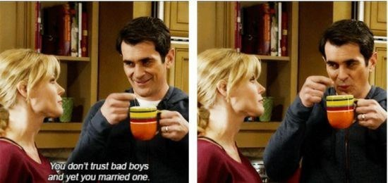 Phil Dunphy cooling off his tea and claiming to be a bad-ass
