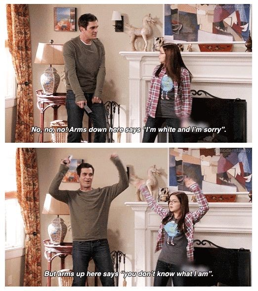 Modern Family Meme of Phil teaching Alex how to dance properly.