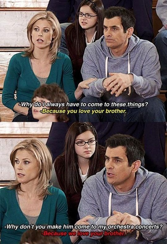 Sibling rivalry handled like a pro by Phil Dunphy.