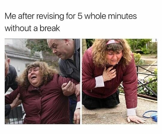 Facial expression - Me after revising for 5 whole minutes without a break
