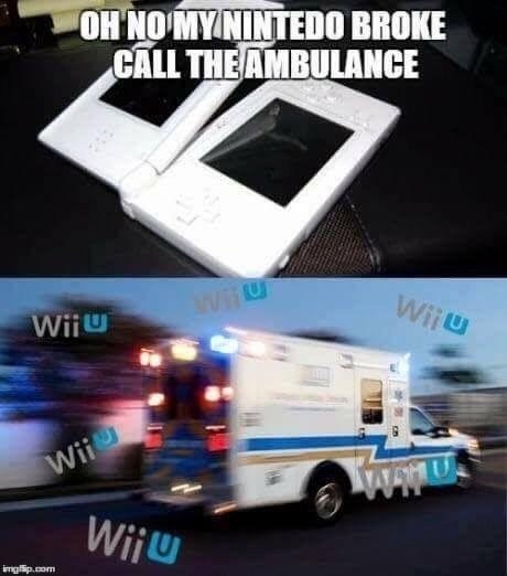 Funny meme about when your nintendo breaks, and calling an ambulance - it makes the sound