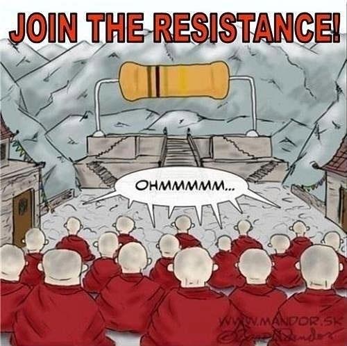 pun - Cartoon - JOIN THE RESISTANCE! OHMMMMM... ww.mANDOR.SK