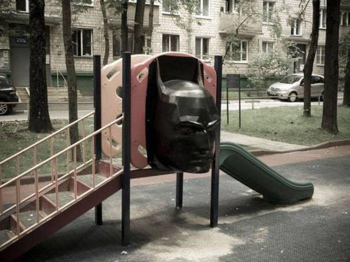batman mask in a park