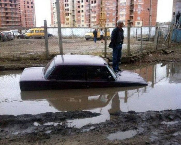 Vehicle submerged in water