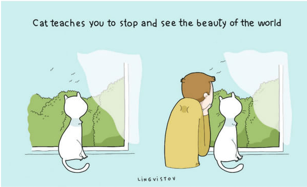 Cartoon - Cat teaches you to stop and see the beauty of the world LING VISTOV