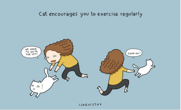 Cartoon - Cat encourages you to exercise regularly wE NEED To Go TO THE VET CoME ON LINGVISTOV
