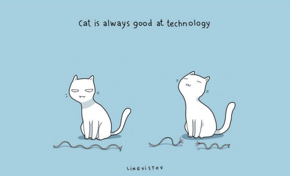 Text - Cat is always good at technology LINGVISTOV