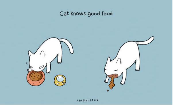 Cartoon - Cat knows good food LING VISTOV
