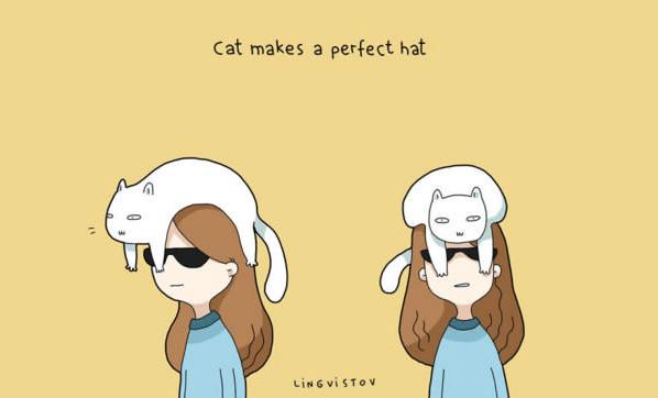 Cartoon - Cat makes a perfect hat LiNGviSTOv