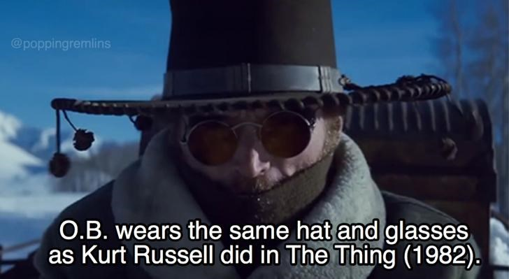 Eyewear - @poppingremlins O.B. wears the same hat and glasses as Kurt Russell did in The Thing (1982).