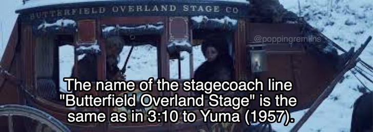 """Font - HUTTERFIELD OVERLAND STAGE CO @poppingremlins The name of the stagecoach line """"Butterfield Overland Stage"""" is the same as in 3:10 to Yuma (1957),"""