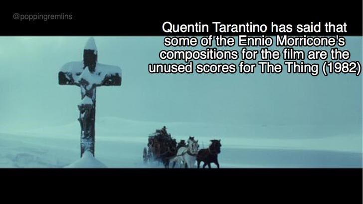 Text - @poppingremlins Quentin Tarantino has said that Some of the Ennio Morricone's compositions for the film are the unused scores for The Thing (1982)