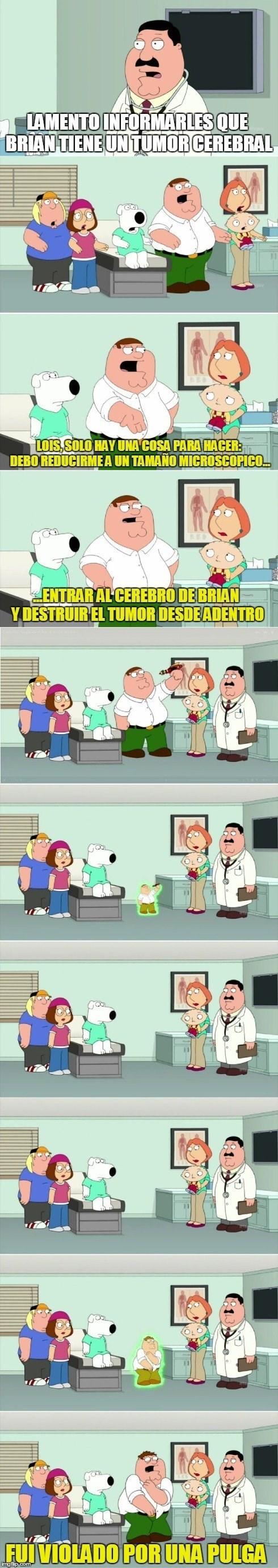 en padre de familia peter se reduce de tamaño para entrar en brian y curarle el cancer