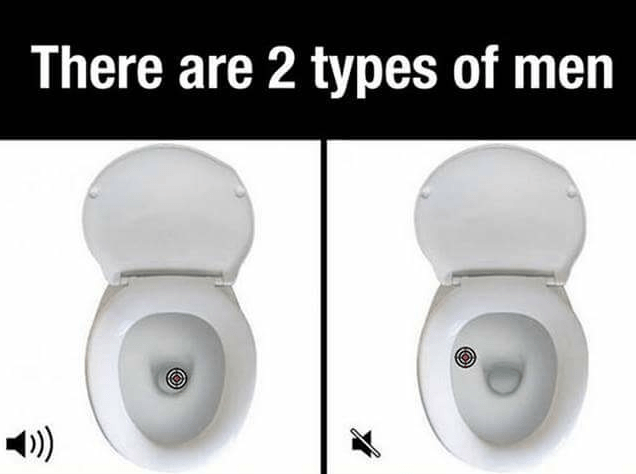 Picture showing how two different types of guys might go about peeing in the toilet.