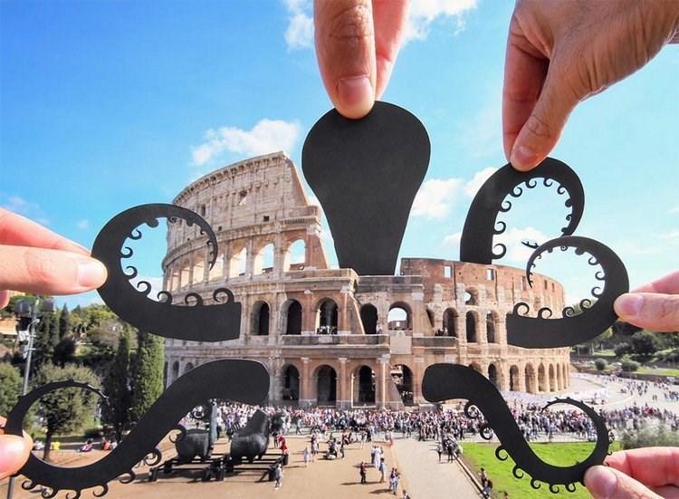 paper cutout on landmarks - Landmark